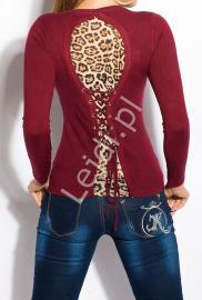 Bluzka damska z panterką w kolorze ciemnego wina 303 - Lejdi