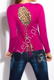Bluzka damska z panterką w kolorze fuksji 303 - Lejdi
