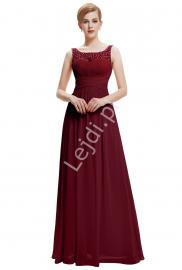 Bordowa suknia szyfonowa z siateczką na dekolcie ozdobiona cekinami i koralikami | suknia na studniówkę, na wesele - Lejdi