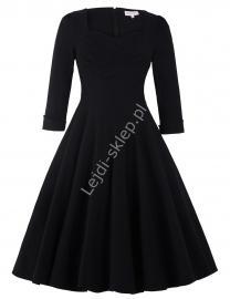 Czarna bawełniana sukienka pin-up z długim rękawkiem, swingdress - Lejdi