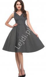 Czarna rozkloszowana sukienka w kropki | sukienka pin up na wesele 6295-1 - Lejdi