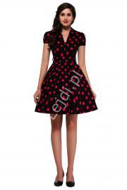 Czarna rozkloszowana sukienka w duże czerwone kropki | sukienka pin up na wesele 6089-7 - Lejdi