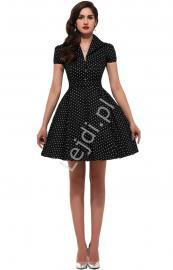 Czarna rozkloszowana sukienka w drobne białe kropki | sukienka pin up na wesele 6089-9 - Lejdi