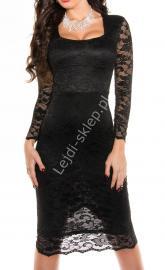 Czarna SUKIENKA za kolano 335 -3 | midi sukienka - Lejdi