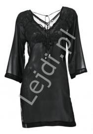 Czarna szyfonowa bluzka wyszywana w kwiatowy wzór   tuniki szyfonowe - Lejdi