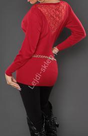 Czerwona bluzka dzianinowa / elegancki sweter - nietoperz z koronką 8055 - Lejdi