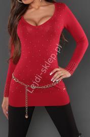 Czerwona dzianinowa tunika z dżetami, 8052 - Lejdi