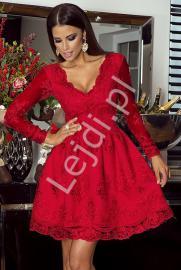 Czerwona sukienka, rozkloszowana sukienka koronkowa - Amelia - Lejdi