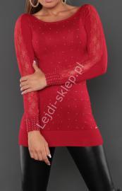 Czerwona elegancka swetrowa tunika z dżetami i koronką, 8051 - Lejdi