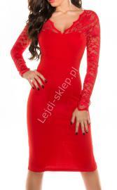Czerwona sukienka, dzianina 339 -5 - Lejdi