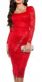 Czerwona SUKIENKA za kolano 335 -4   midi sukienka, czerwona sukienka z koronki - Lejdi
