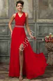Długa koronkowa czerwona suknia | zmyslowe sukienki wieczorowe - Lejdi