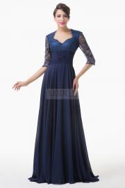 Długa suknia z koronką, suknia dla Matki Panny Młodej / Pana Młodego, granatowa - Lejdi