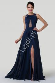Długa zwiewna szyfonowa suknia z odkrytymi plecami i trenem   sukienki wieczorowe - Lejdi