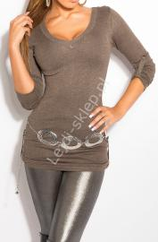 Dzianinowa bluzka / sweter z podwijanymi rękawkami, kawa z mlekiem 8011 - Lejdi