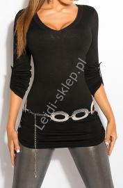 Dzianinowa bluzka z podwijanymi rękawkami | czarny sweter 8011 - Lejdi