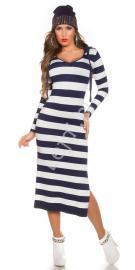 Dzianinowa sukienka w granatowo białe paski, sukienka z kapturem 8723 -3 - Lejdi