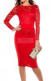 Czerwona wyrafinowana sukienka 334 -3 , r.34 -r.50 - Lejdi