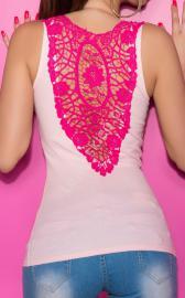 Jasny róż bawełniany top z różową gipiurową koronką | jasny róż bokserka, bluzka klubowa - Lejdi
