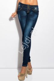Jeansy biodrówki z ozdobnymi kokardkami 600-77 - Lejdi