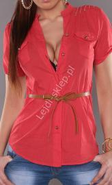 Czerwona bawełniana koszula z brązowym paskiem | elegancka bluzka koszulowa , 100% bawełna - Lejdi