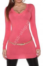 Koralowa sukienka lub tunika z dzianiny ze sznurowanym dekoltem 8039 - Lejdi