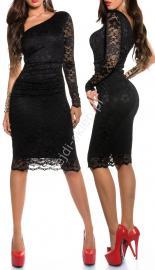 Koronkowa czarna sukienka na jedno ramię , 358-2 - Lejdi