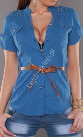 Niebieska koszula z brązowym paskiem | elegancka bluzka koszulowa , 100% bawełna - Lejdi