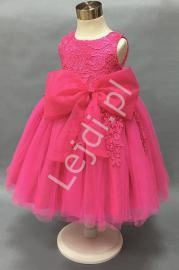 Sukienka dla dziewczynki, bogato zdobiona gipiurową koronką, fuksja - Lejdi