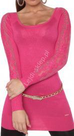 Różowa tunika z dzianiny - sweter z kryształkami   różowe swetry damskie 8077 - Lejdi