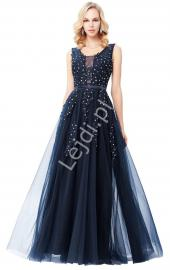 Sukienka wieczorowa, sukienka studniówkowa   sukienka na wesele granatowa - Lejdi