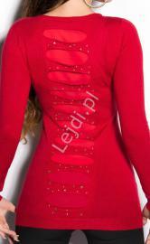 Sweter młodzieżowy z kryształkami i jetami | tunika dzianinowa czerwona 8185 - Lejdi