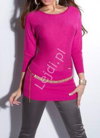 Sweter nietoperz wełniany z jedwabiem zdobiony łańcuszkami - fuksja 161 - Lejdi