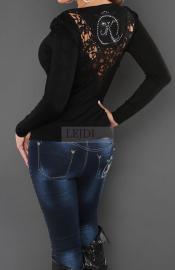Sweter z koronką, czarny 114 - Lejdi