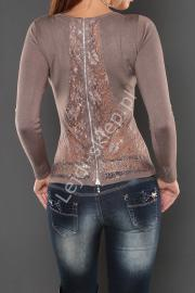 Sweter z koronka na plecach i cyrkoniami, mokka - Lejdi