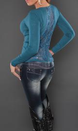 Sweter z koronkowymi plecami, szmaragd - Lejdi