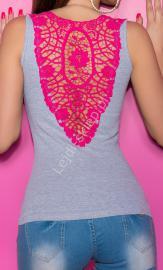 Szary bawełniany top z różową gipiurową koronką | szara bokserka, bluzka klubowa - Lejdi