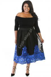 Tiulowa czarna elegancka sukienka z chabrowymi haftami na tiulu, Plus Size - Lejdi