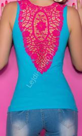 Turkusowy top z różową gipiurową koronką | turkusowa bokserka, bluzka klubowa - Lejdi
