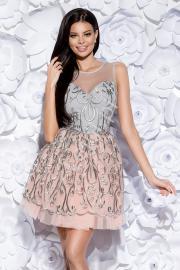 Sukienka koktajlowa szaro różowa | krótka rozkloszowana tiulowa sukienka 2129-03 - Lejdi
