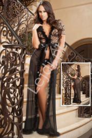 Wieczorowy czarny szlafrok z puszkiem i złotymi wzorami na koronce+ stringi 365 - Lejdi