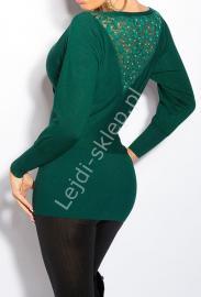Wizytowa zielona bluzka dzianinowa, oversize z koronką 8055 - Lejdi