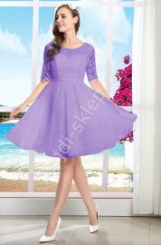 Wrzosowa sukienka na wesele, studniówkę, komunie z gipiurą 9107 - Lejdi
