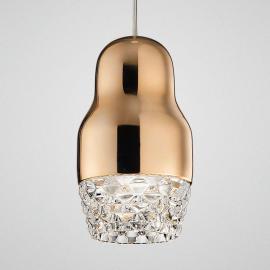 Suspension LED à 1 lampe Fedora rose doré