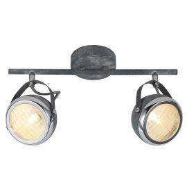 Plafonnier gris béton Rider, à deux lampes