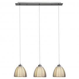 Suspension Relax chromée à trois lampes
