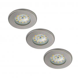 Set de 3 spots encastrés LED Nikas IP44 nickel
