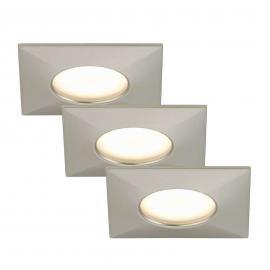 3 spots encastrés LED Luca IP44 nickel mat