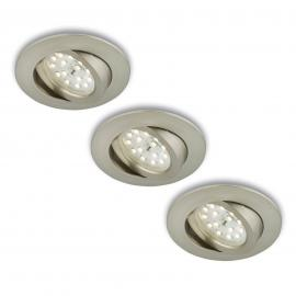 Spot encastré LED rotatif en set de 3 nickel mat