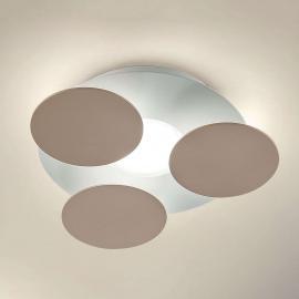 Plafonnier LED rond Nuvola en gris brun